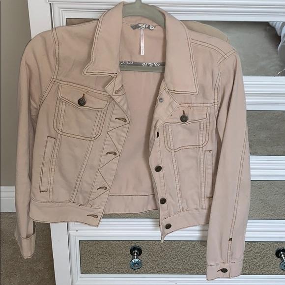 free people pink/cream denim jean cropped jacket